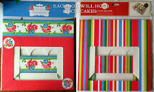 CAKE BOX TO HOLD 12 CUPCAKES Striped Bright & Vintage Tea Party RED ROSES BAKING