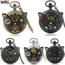 Butterfly Antique Steampunk Pocket Watch Chain Quartz Pendant Necklace Mens Gift