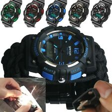 Military paracord Bracelet Wrist Watch Compass  Camping Hiking Water Resistant