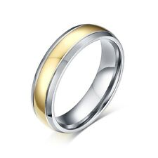 6mm Titanium Steel Silver Band Men/Womens 18K Gold Plated Wedding Ring Size 5-13