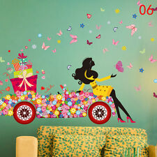 3D Sweet Girl Flower Bicycle Vinyl Decal Butterfly Wall Sticker Home PVC Decor