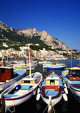 Art Print POSTER / Canvas Small Boats Moored at Capri in the Bay of Naples