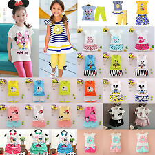 2Pcs Kids Baby Girls Boy Mickey Minne Vest Top + Pants Summer Clothes Outfit Set