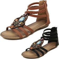 New Women Gladiator Sandals Shoes Weave Open Toe T Strap Flat Size Strappy Toe G