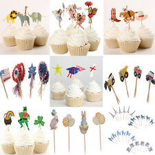 24x Assorted Cute Paper Cupcake Cake Topper Picks Party Cake Decoration