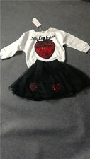 Girl fashion strawberry two-piece cotton dress long-sleeved T-shirt + lace skirt