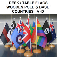 """Desk Table flag with wooden pole & base. 9"""" x 6"""" flag. Countries A-D."""