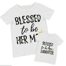 Chic White Summer Family Fitted Letter Short Sleeve Mom-Daughter T-shirt Casual