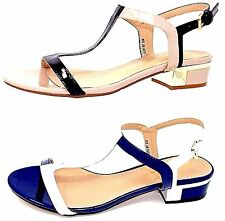 Ladies Lunar BETSY Small Heeled Strappy Sandal Navy/White Nude/Black size 3 to 8