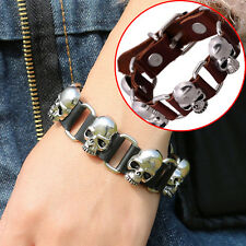 Unisex Personality Charm Diy Knit Punk Skull Leather Men Bracelet Accessories