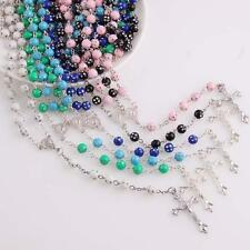 Crystal INRI Cross Pendant Necklace for Women Alloy Chain Rosary Beads Jesus