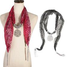 Women Fashion Leopard Pattern Chiffon Scarf Necklace Silver Tassels Pendant