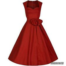 Women 40's 50's Vintage Audrey Style Rockabilly Retro Solid Tea Party Dress UK
