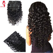 Full Head Deep Wave Curly Clip in Human Hair Extensions Hair Weft 120g 10pcs