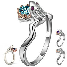 Women Animal Frog Prince Crown 925 Silver Black Sapphire Engagement Ring Sz6-10