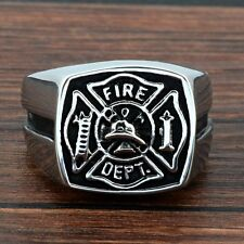 Silver Fire DEPT Retro Stainless Steel Ring Gothic Biker Mens Jewelry Band Gift