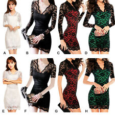 Sexy Women Lace V Neck Slim Bodycon Evening Party Cocktail Club Mini Dresses
