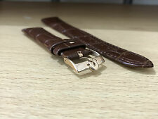 OMEGA, BROWN GENUINE CROC LEATHER WATCH STRAP, OMEGA ROSE GOLD BUCKLE,18MM,20MM