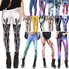 Womens Printed Fitness Yoga Leggings Funky Pencil Pants Gym Running Trousers New