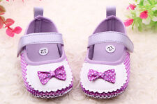 CM Infant Baby Toddler girl bow dot Soft Sole Crib Shoes PreWalker 0-18 Month