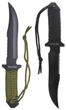 Paracord Black Olive Drab Survival Hunting Knife w/ Camp Fire Starter & Sheath