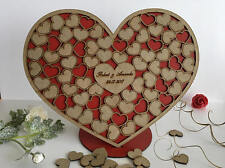 Personalised wedding guest book Alternative guest book Hearts wood guest book