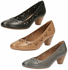 LADIES CLARKS LEATHER FLORAL CUT OUT WIDE FIT MID HEEL COURT SHOES DENNY DAZZLE