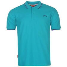 Slazenger Mens Tipped Polo Shirt Teal Blue New With Tags