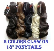 "Long 18"" Claw On Ponytail 5 Colors Light Wavy Kanekalon Hair Extension Clip In"