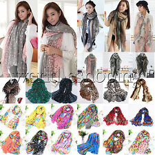 Women Ladies Long Soft Chiffon Scarf Wrap Large Silk Winter Shawl Stole Scarves