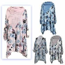 New Womens Ladies Lagenlook Floral Print Tunic Scarf Top Dress Plus Size 16-30