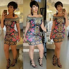 Sexy Women Off Shoulder Short Sleeve Print Party Cocktail Bodycon Mini LM01