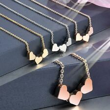 Fashion Women Three Heart Charms Pendant Necklace Jewelry Gift LM01