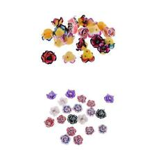 20Pcs 15mm Mixed Colorful Rose Flower Polymer Clay Beads for DIY Jewelry Finding