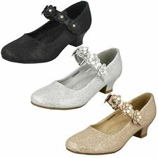 Girls Spot On Glittery Mid Heel Party Shoes 'Style 068'