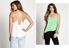 NEW WOMENS GUESS CUTOUT RACER BACK WHITE GREEN BLOUSE TANK TOP SHIRT BLOUSE