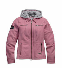Harley-Davidson Womens Slim Fit Pink 3-in-1 Leather Motorcylce Jacket 98090-15VW