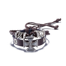Brown Genuine leather Braided Adjustable Cross Bracelets Cuff Bracelets Jewelry