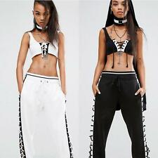 Women Side Lace Up Hollow Out Casual Baggy High Waist Sports Long Pants Trousers