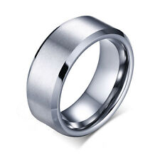 8mm Tungsten Carbide Wedding Band Men's Silver Brushed Engagement Ring Size 7-12