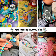 NEW PERSONALISED Baby Girls / Boys Bling Soother Pacifier DUMMY HOLDER CLIP MAM