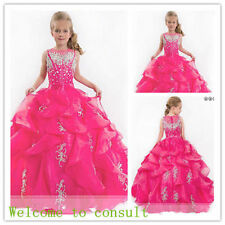 Pink Beaded Flower Girl Dress Wedding Bridesmaids Prom Ball Gown Pageant Party