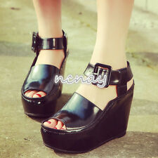 Womens Peep Toe Sandals Wedge heels Mules Plateform Shoes Ankle Strapy Buckle Sz