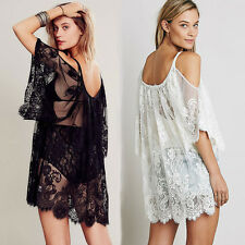 2017 Women Beach Dress Sexy Strap Sheer Floral Lace Embroidered Crochet Summer