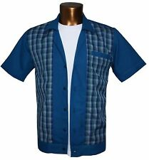 1950s/1960s Rockabilly ,Bowling, Retro, Vintage Men's shirt, 'New' Navy/Check