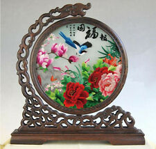 Chinese double-sided silk embroidery ornament spring blossoms screen