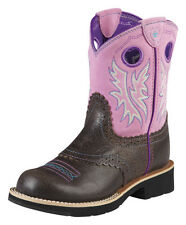 Ariat Fatbaby Cowgirl Western Boots Kids Girls Pink Brown 10008723 ~ NEW