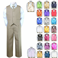 6pc Formal Baby Boy Toddler Khaki Vest Bow Tie Suit Outfit w/ Color Vest Set S-7
