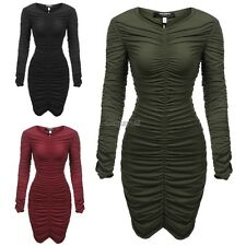 Women's V-Neck Long Sleeve Stretchy Ruched Bodycon Party Dress OK01