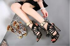 New Women's Prom Dressy Shoes Black Silver High Slim Heel Ankle Strap Sandals
